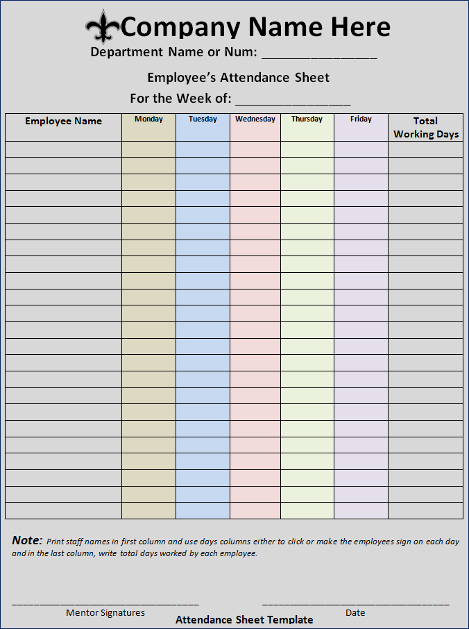 Free Attendance Sheet Template | Free Word Templates