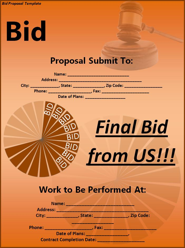 Bid Proposal Template Free Word Templates  Bid Proposal Template Free