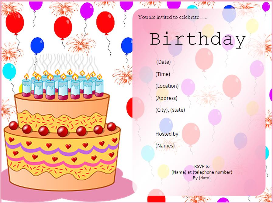 Invitation birthday template word stopboris Image collections