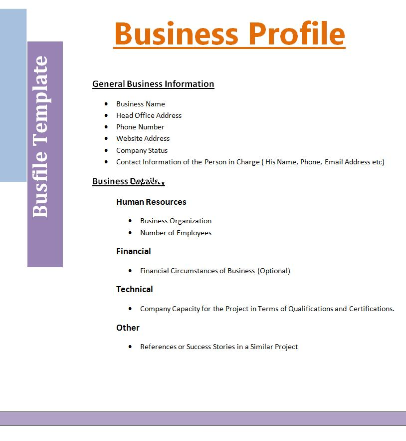 company profile template word