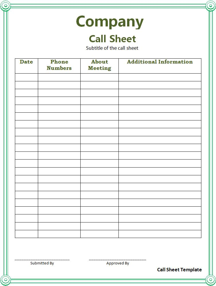 Call Sheet Sample Free Word S Templates
