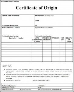 certificate of origin template