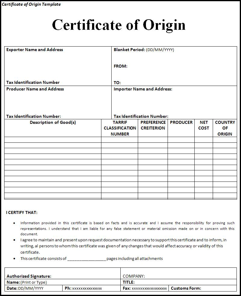 Certificate of origin template free word templatesfree for Certification document template