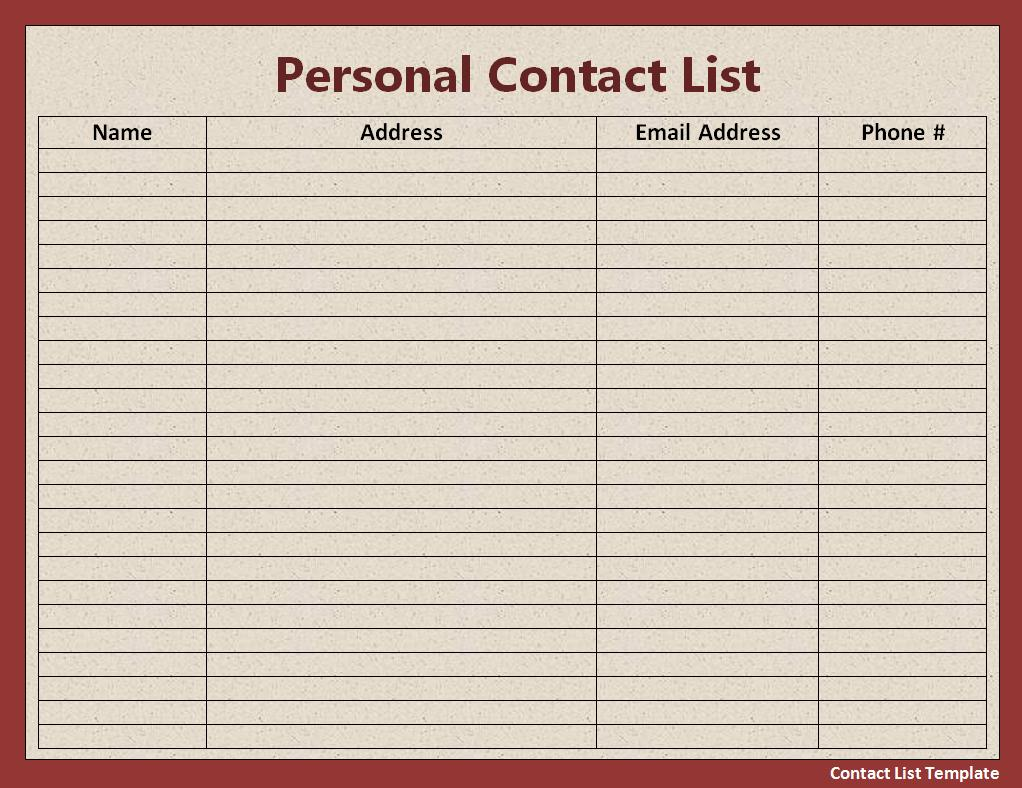 Sample Contact List Free Word S Templates