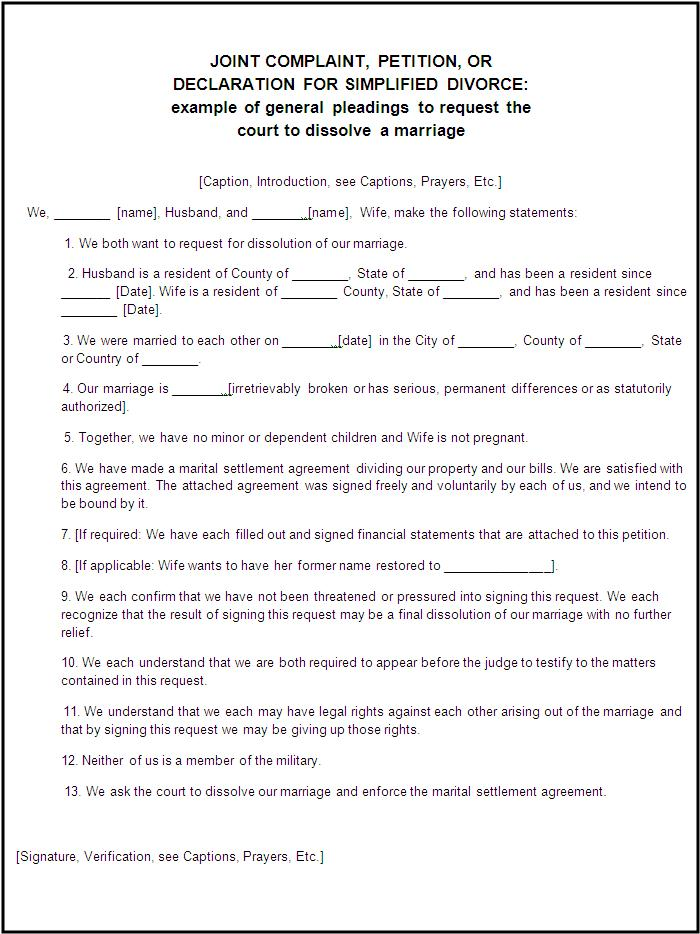 Divorce forms free word 39 s templates for Divorce agreement template canada
