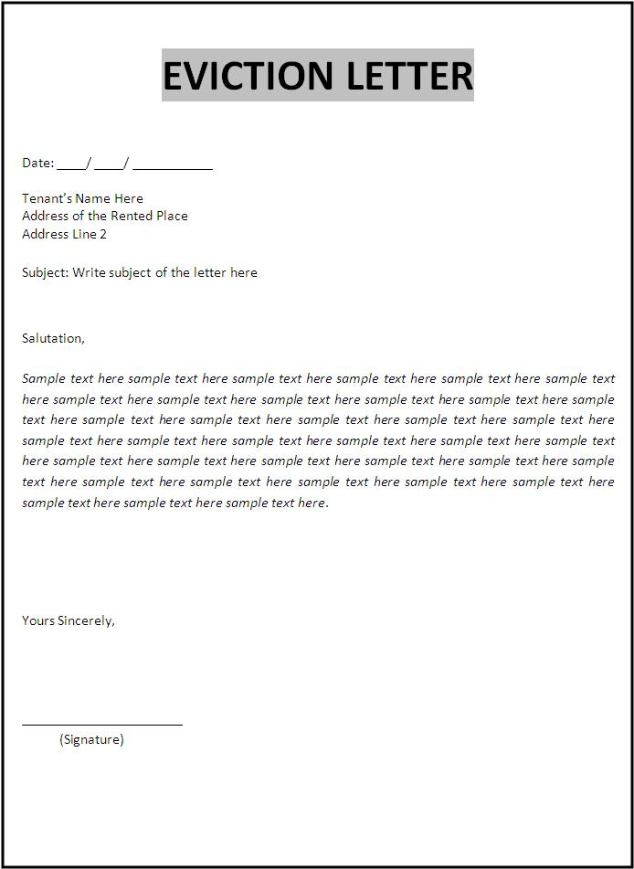 free eviction letter format free word 39 s templates