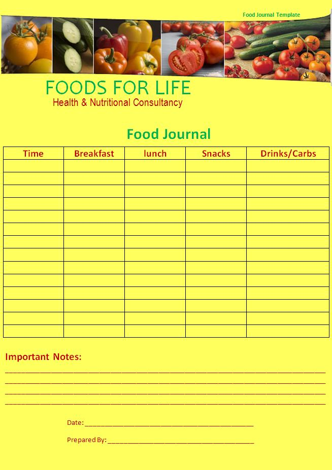 Food journal template new calendar template site for Food diaries templates