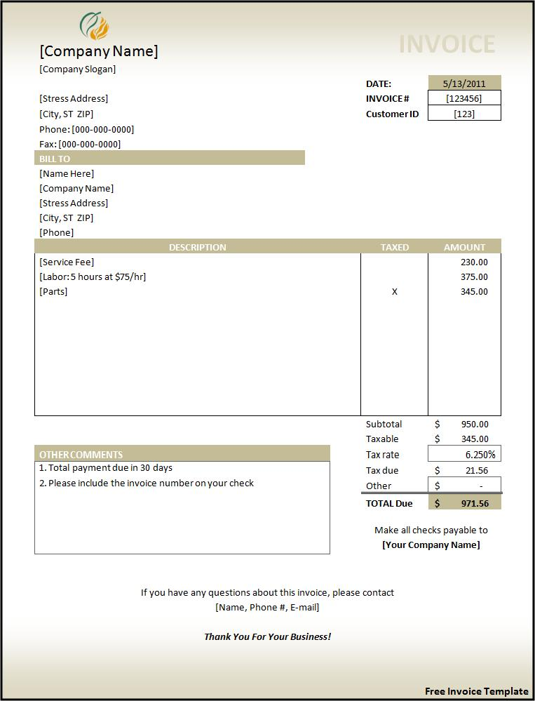 It is a picture of Invaluable Printable Invoices Free