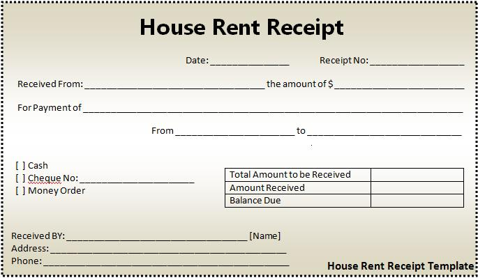 House Rent Receipt Template - Rent payment receipt template