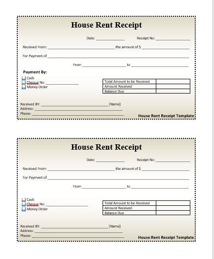 House Rent Receipt Template. File Size : 12.93 KB ...  House Rent Receipt Format India