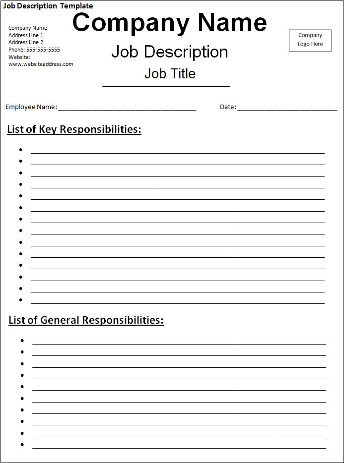 Job description template free word templatesfree word for Creating a job description template