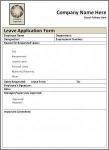 File Size : 46.22 KB ...  Leave Application Form For Employee