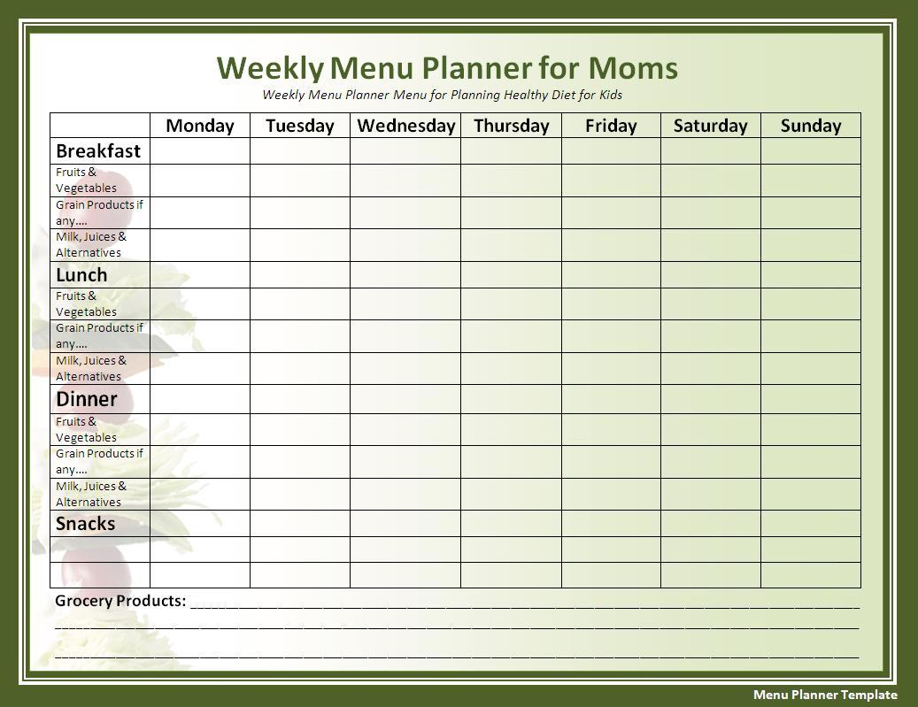 Printable Menu Planner Samples