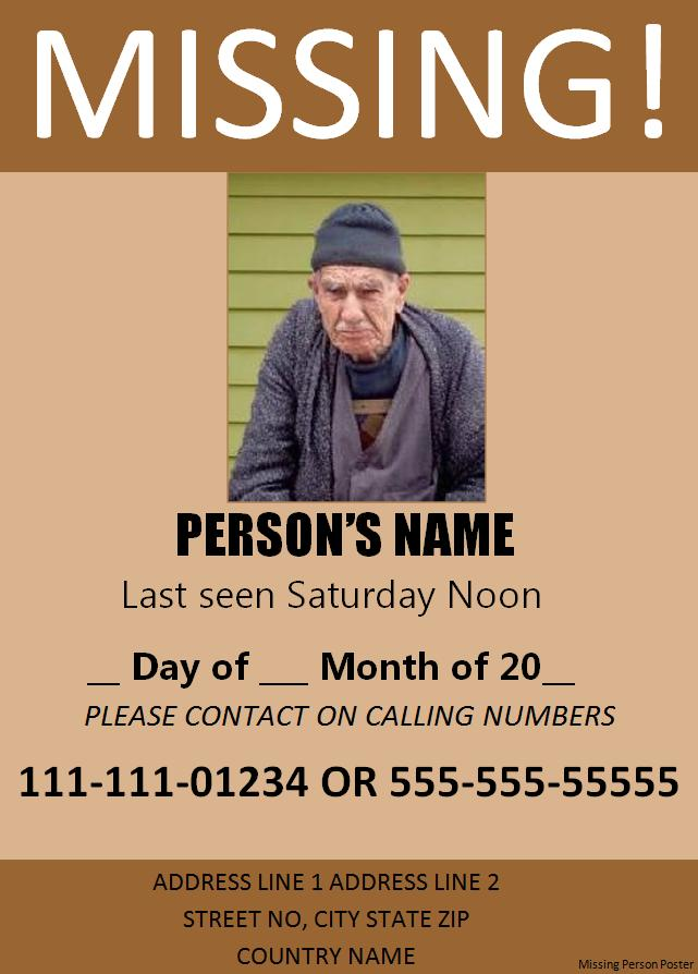 Missing persons poster template