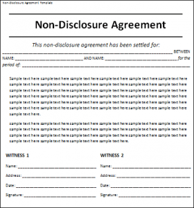 File Size : 11.88 KB ...  Non Disclosure Agreement Word Document