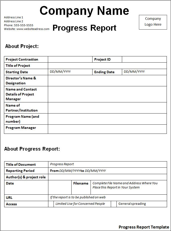 report templates – High School Progress Report Template