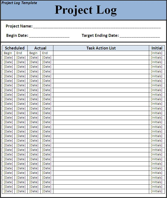 Project log template free word 39 s templates for Project listing template