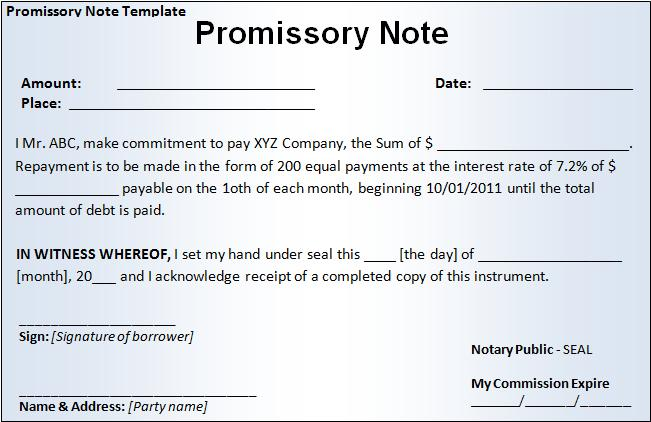 Promissory note template free word templatesfree word for Free online promissory note template