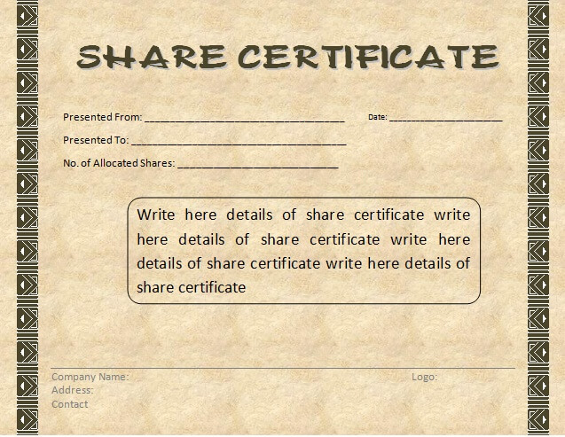 10  share certificate templates