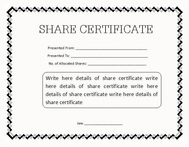10 share certificate templates free word templates for Stock certificate template word