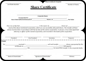 share certificate template