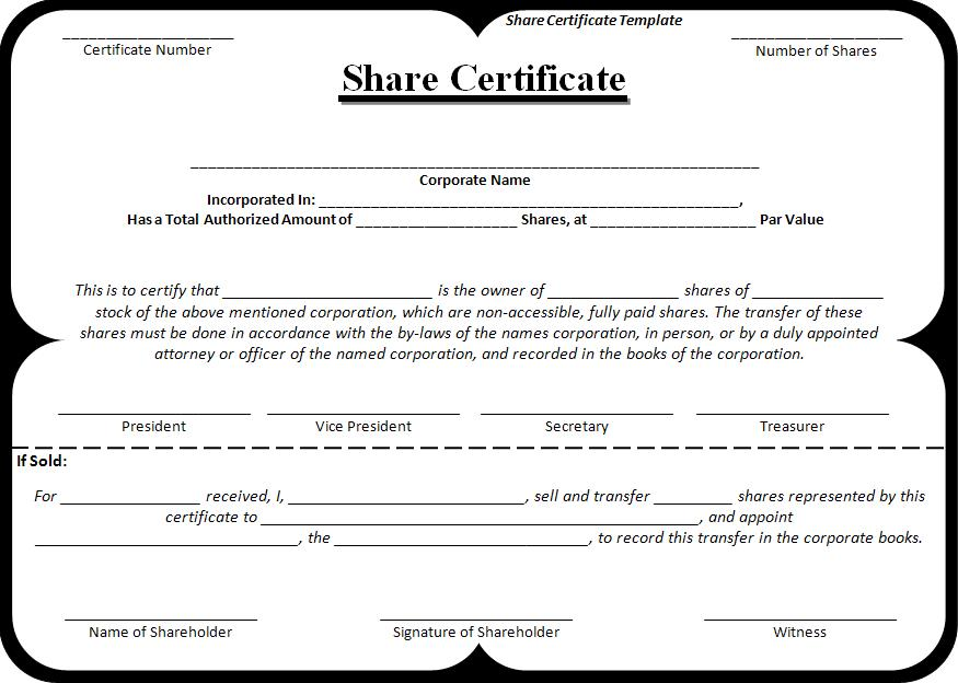 Sample share certificate free word 39 s templates for Share certificate template alberta