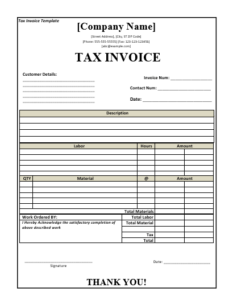 Tax Invoice Templates Word Excel PDF Templates - Tax invoice template word