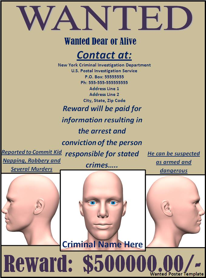 Wanted poster sample free word templates for Free wanted poster template
