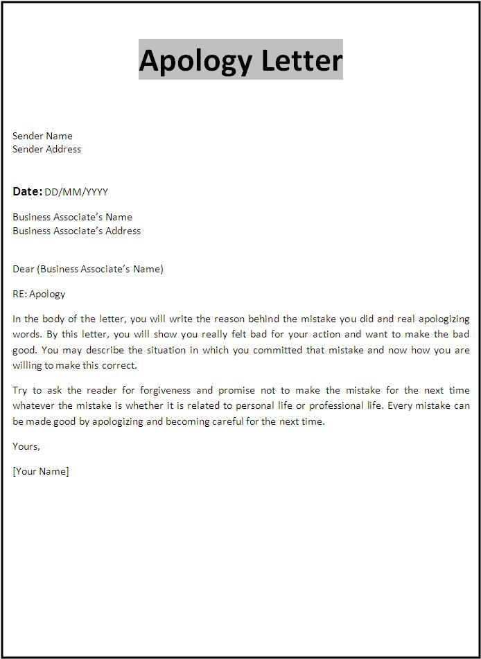Apology Letter Template | Free Word's Templates