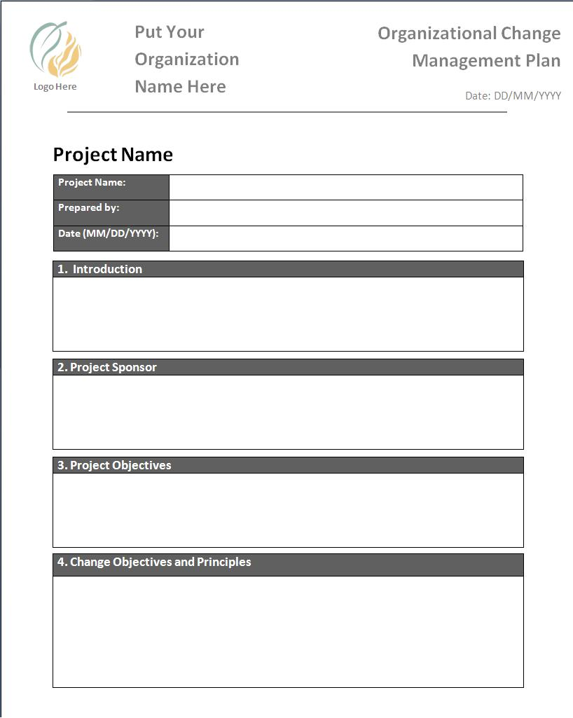 Plan templates free word templates for Change management process document template