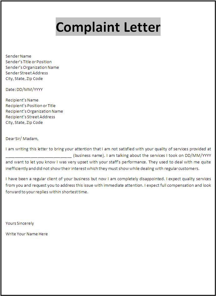 Writing service complaint letters Ssays for sale – Complaint Letters Template