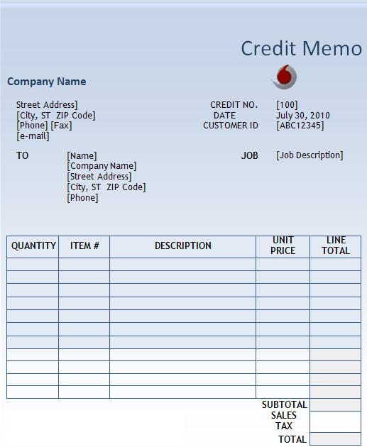 credit memo template free words templates