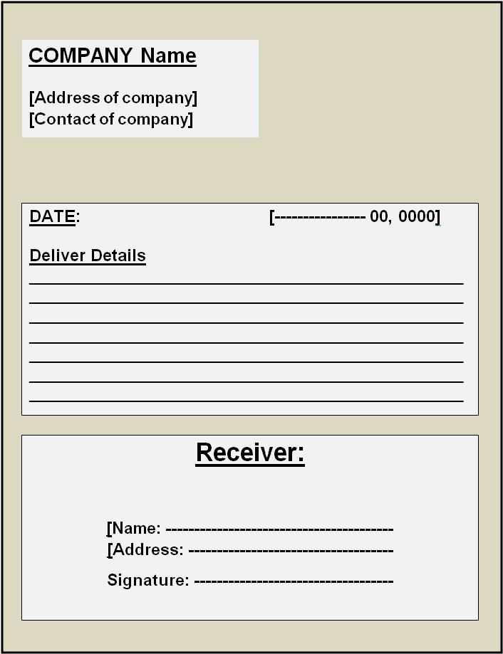delivery receipt template – Sample Receipts Templates