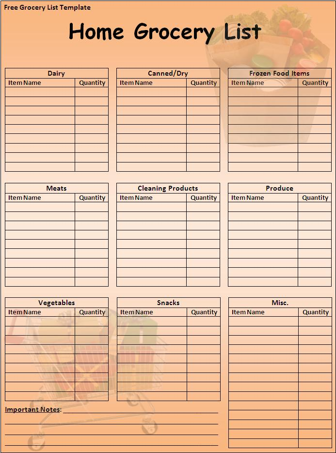 Fieldstation.co  Grocery Checklist Template