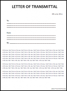 Letter Of Transmittal Template  Example Transmittal Letter