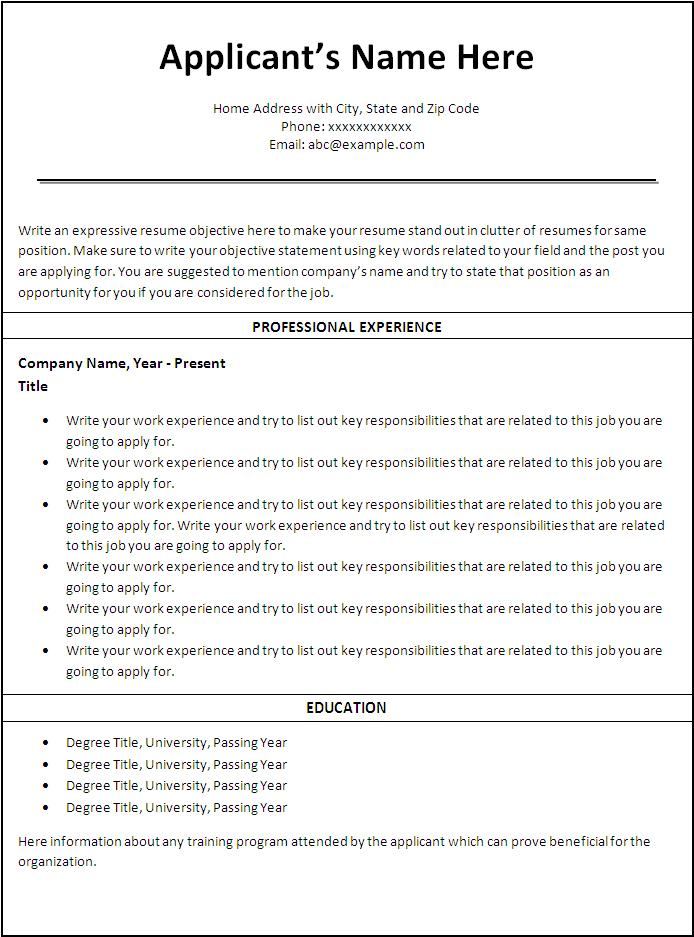 Resume Job Templates  PetitComingoutpolyCo