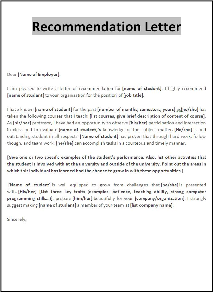 Recommendation Letter Sample | Free Word's Templates