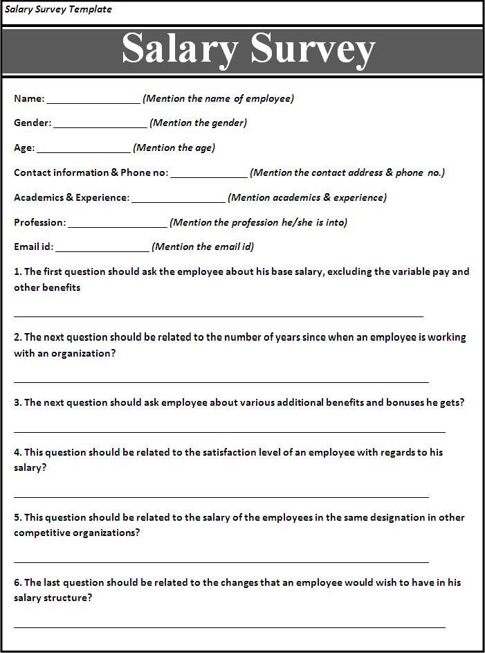Salary survey template free word 39 s templates for Template of a questionnaire