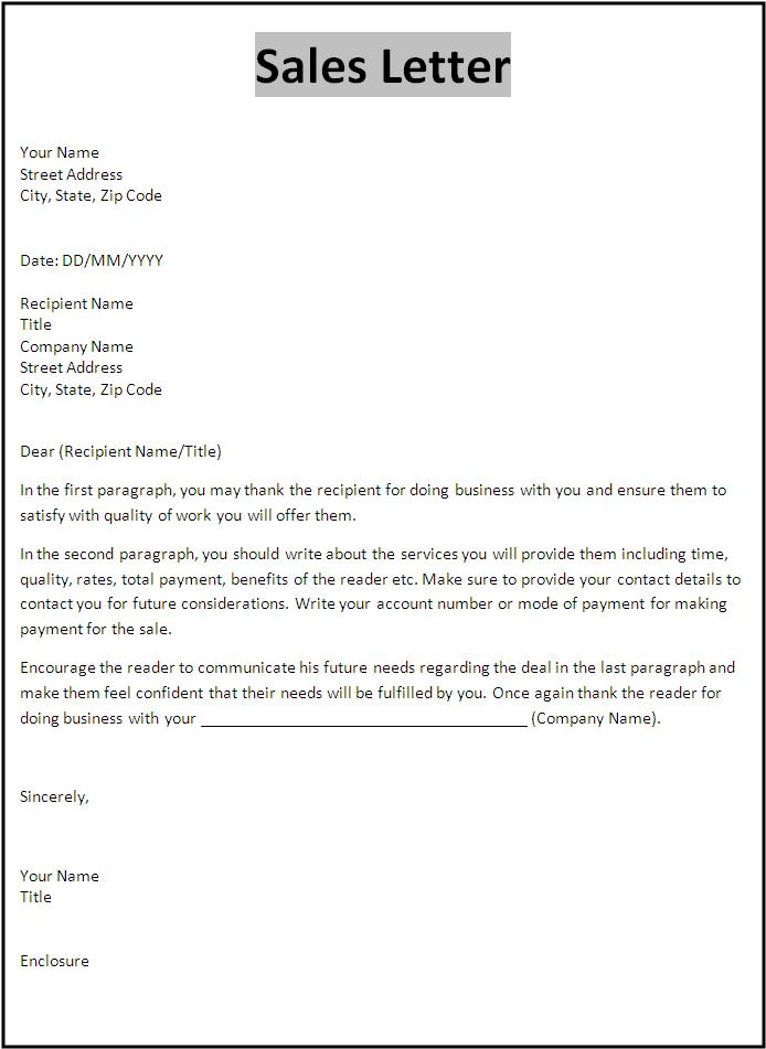 Sales Letter Template Free Word S Templates
