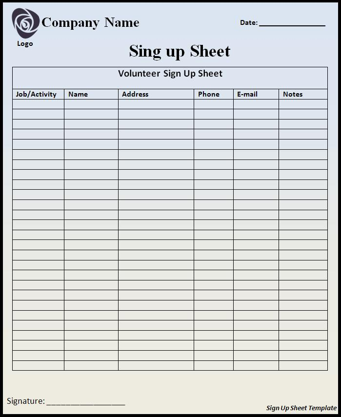 Mark Sheet Template Sign up Sheet Template