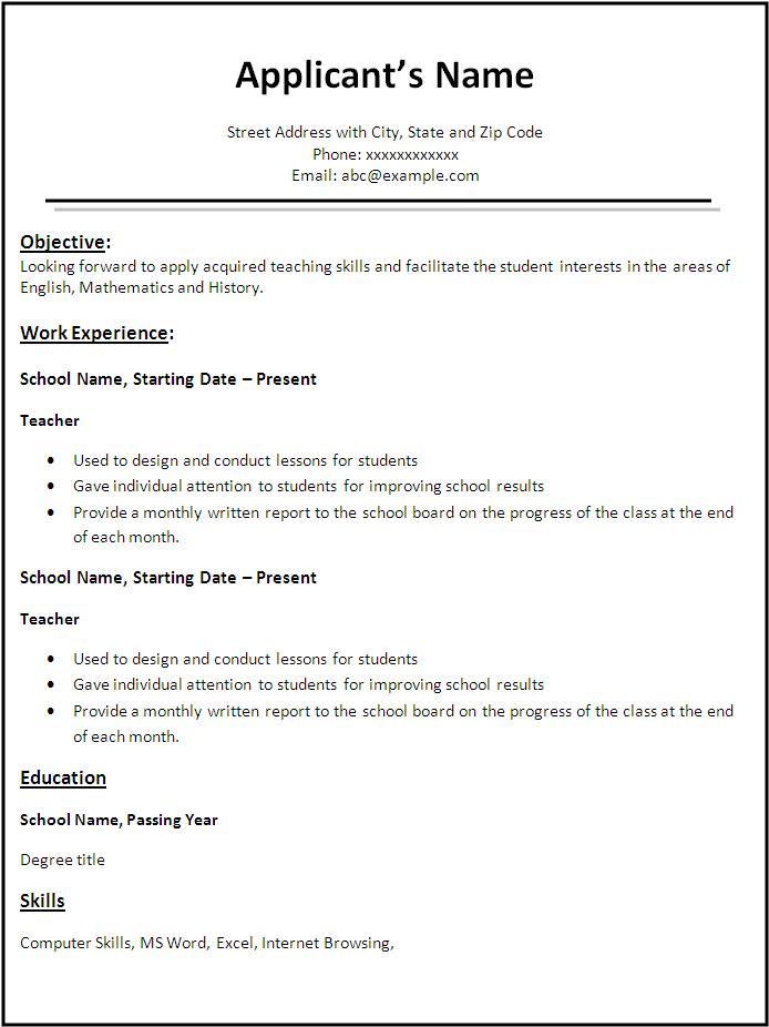 free teacher resume format free word 39 s templates