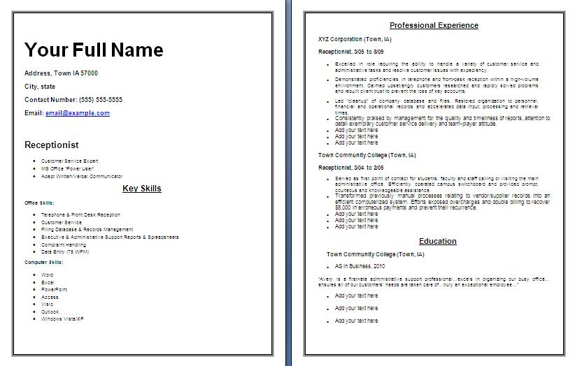 receptionist resume template free word templatesfree