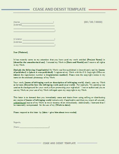 Cease and Desist Letter Template | Free Word's Templates