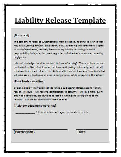 Liability Release Template Daycare Liability Templates Templates – General Liability Waiver