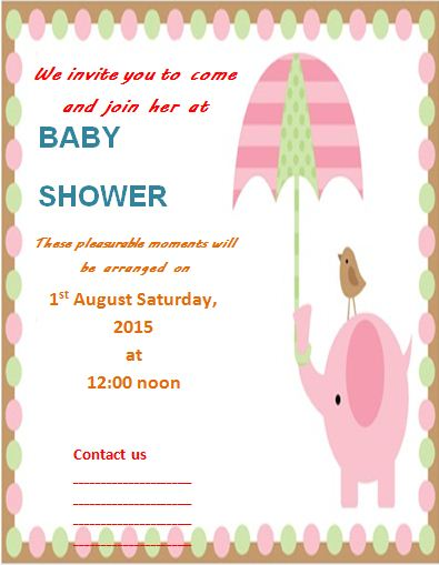 baby shower invitation template free word 39 s templates