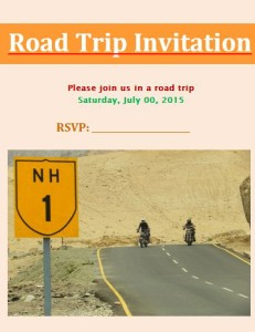 Road Trip Invitation Template