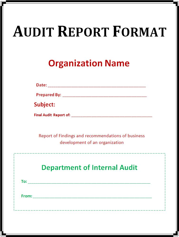 internal audit reports samples