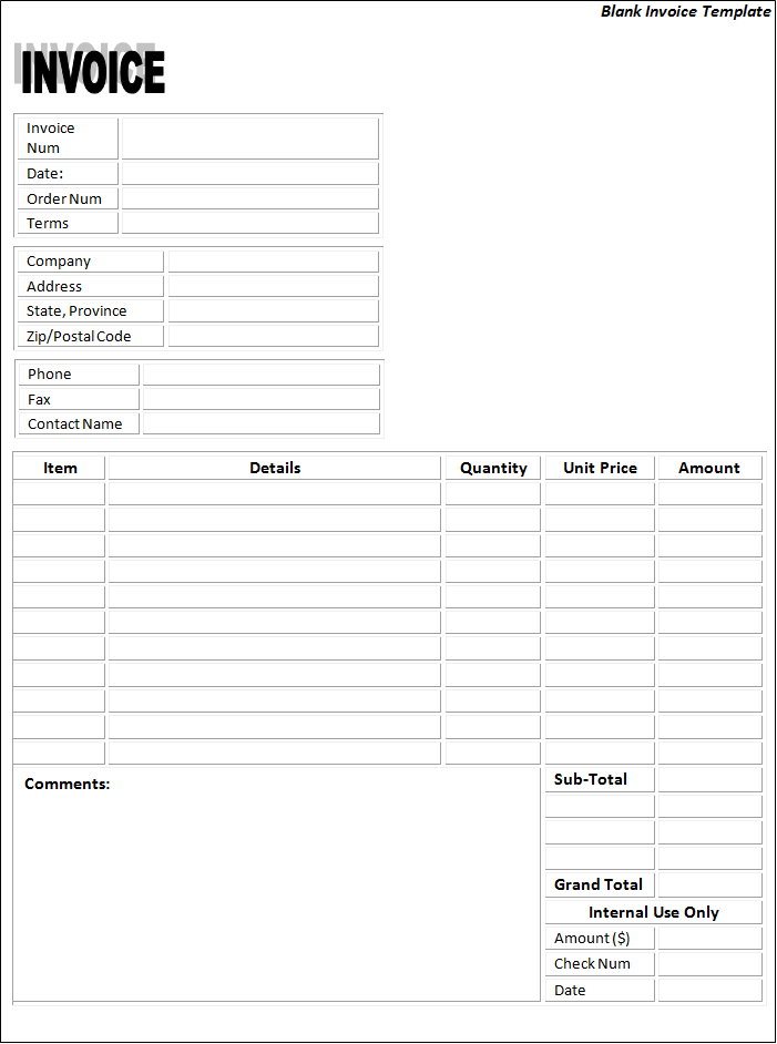 Blank Invoice Templates 22 Free Printable Word Excel Pdf Formats Samples Examples Forms