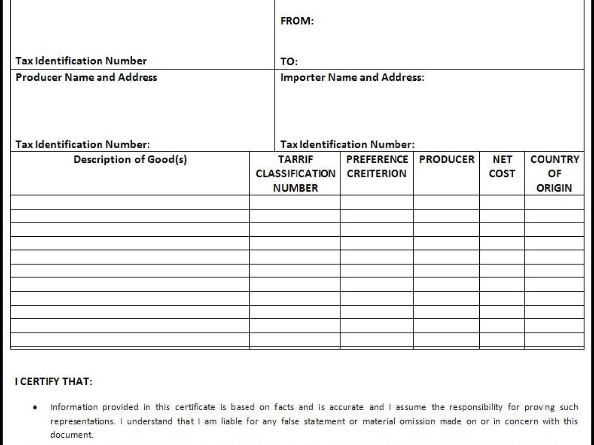 Certificate of Origin Templates | 2+ Free Printable Word ... on certificate of ownership, shipper template, bill of lading template, certificate of weight form, certificate of sale form, invoice template, power of attorney template, letter of intent template, certificate of valuation, certificate of promotion, certificate of service,