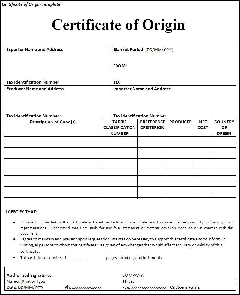 Free Certificate Of Origin Template Free Word Templates